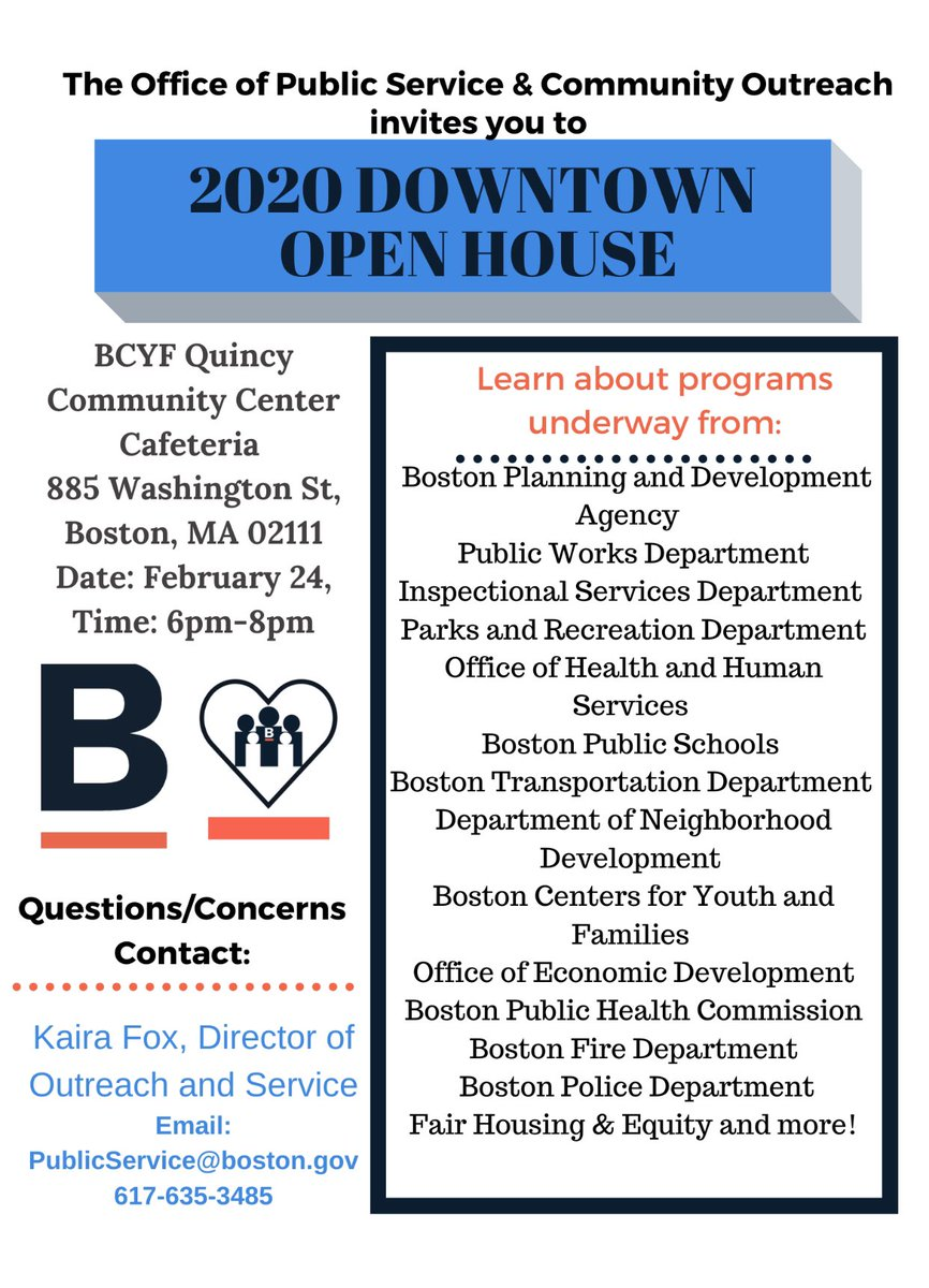 Curious to learn more about programs,  projects, and investments happening in various @CityOfBoston departments? Please join @marty_walsh on 2/24 between 6PM - 8PM at the BCYF Quincy Community Center cafeteria. For a list of departments attending and additional information .pic.twitter.com/iGeJHPTDwG