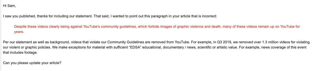 Spokeperson for YouTube immediately emailed us erroneously asking for a correction and claiming our article is wrong