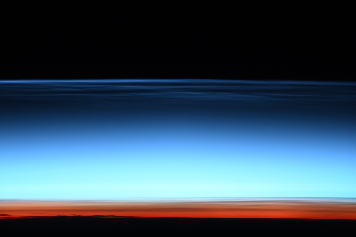 The mesospheric (noctilucent) clouds in the upper atmosphere of the Southern Hemisphere have been especially impressive recently. That breathtaking color palette is our Earth's atmosphere that allows you to breathe. Let's appreciate and protect it.