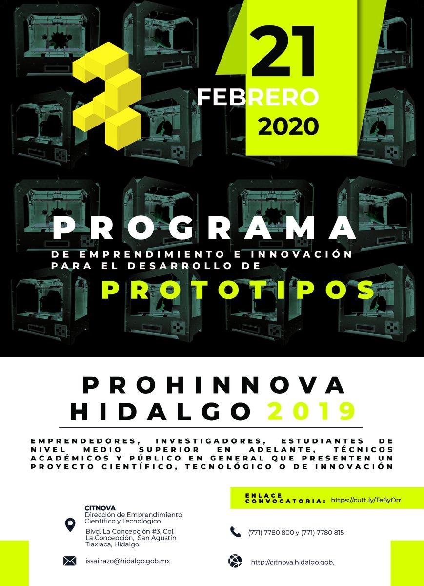 Para consolidar el emprendimiento científico – tecnológico, #CITNOVA convoca a participar en #ProhinnovaHidalgo2020 para apoyar propuestas que deseen desarrollar nuevos productos que requieran diseñar, construir y generar un #prototipo  Consulta: