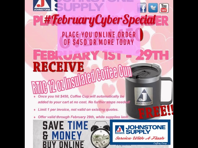 Have you Heard?! #FebruaryCyberSpecial is here!!! Place you online order of $450 or more and get this amazing insulated coffee mug!! #JohnstoneSupplyCaffertyGroup #HappyValentinesDay #johnstonesupply #easy4thecontractor http://bit.ly/2HKxs9Spic.twitter.com/yclhjEn1Ct