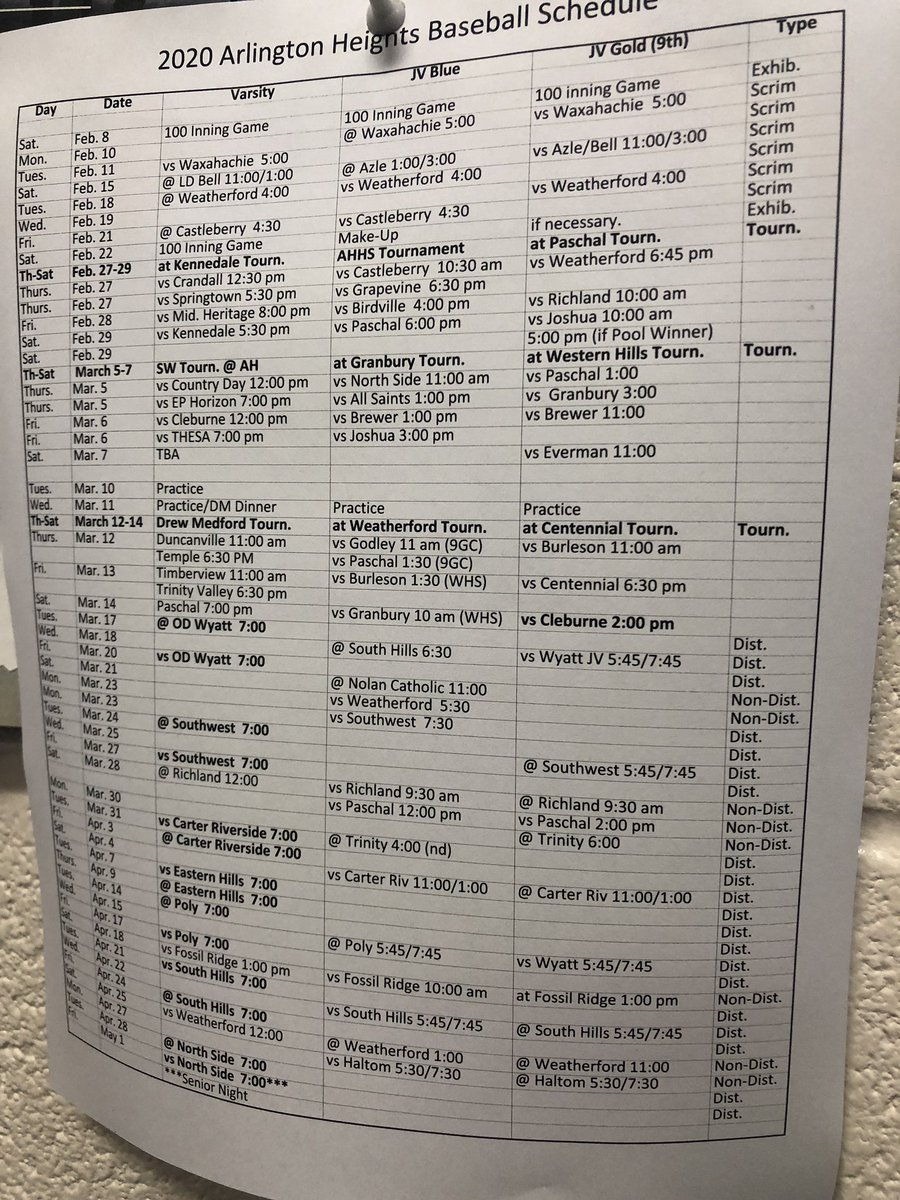 Baseball schedule for 2020 season