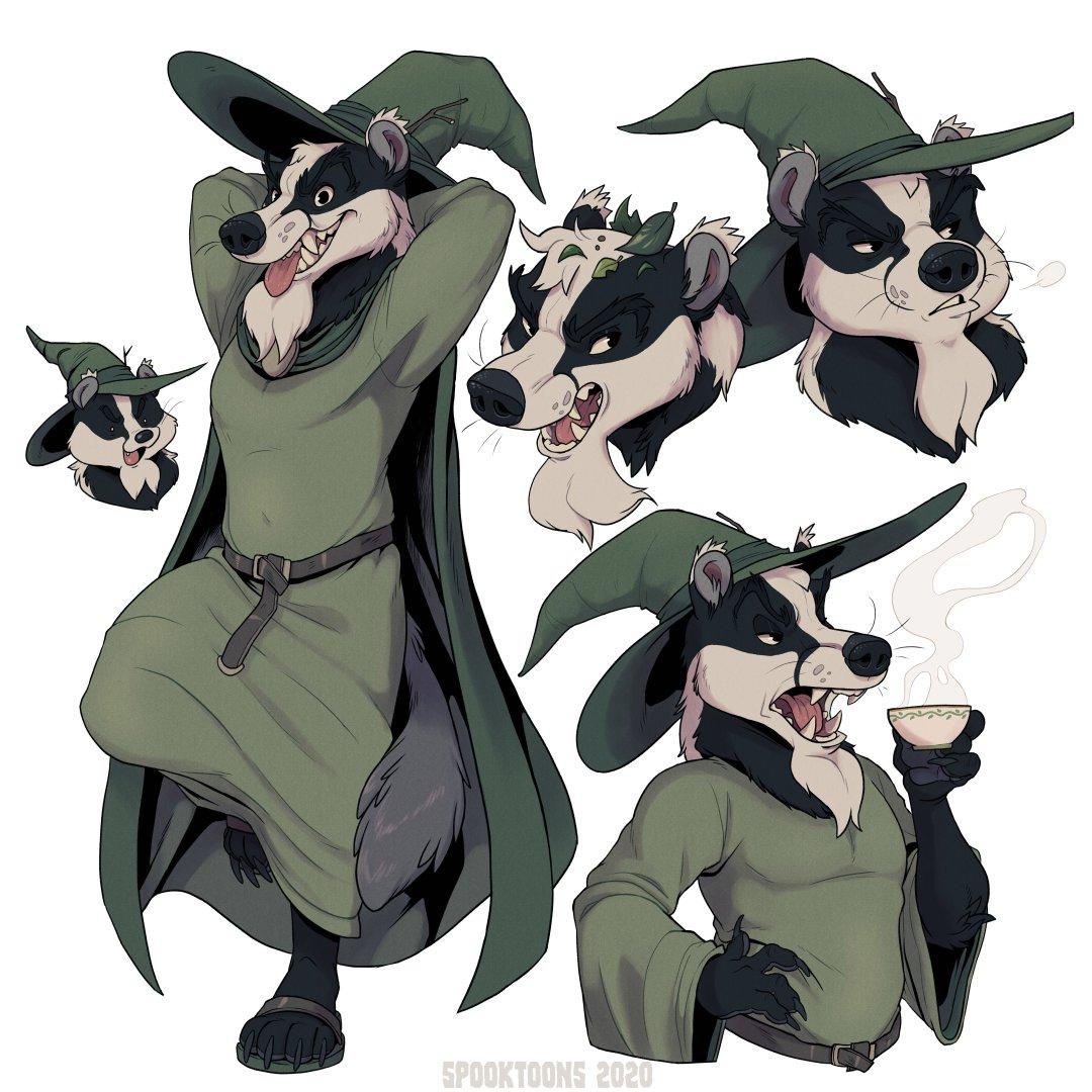 Complete YCH for @/Tredain of his perfect, grumpy badger boi! #furry #teeth #fantasy pic.twitter.com/r96Zr35bKO