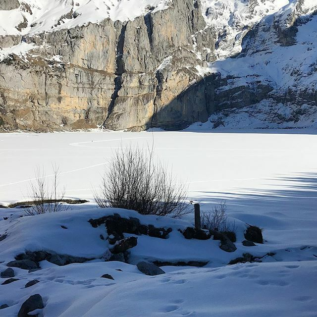 Frozen mountain lake. What an experience to walk across the whole lake, just breathtaking. #oeschinenlake #switzerland #swissalps #naturesbeauty #mothernature  #mothernaturesbeauty #landscape_captures #winterlandscape #frozenlake https://ift.tt/2SM1GzC pic.twitter.com/aJpQSNox4p