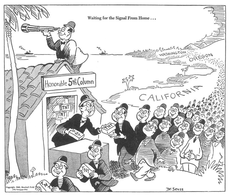 """Fear of treachery from ethnically Japanese Americans is high; cartoonist Dr. Seuss illustrates """"Honorable Fifth Column"""" waiting for signal from Japan to start attacking California, Washington & Oregon."""