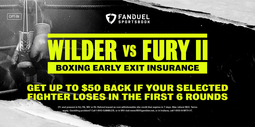 Boxing Early Exit Insurance 🥊  Place a pre-match moneyline wager on Saturday's fight between Tyson Fury and Deontay Wilder. If your fighter loses during Rounds 1-6, we'll refund your bet up to $50 in site credit 💰  Details: http://bit.ly/2PaML01