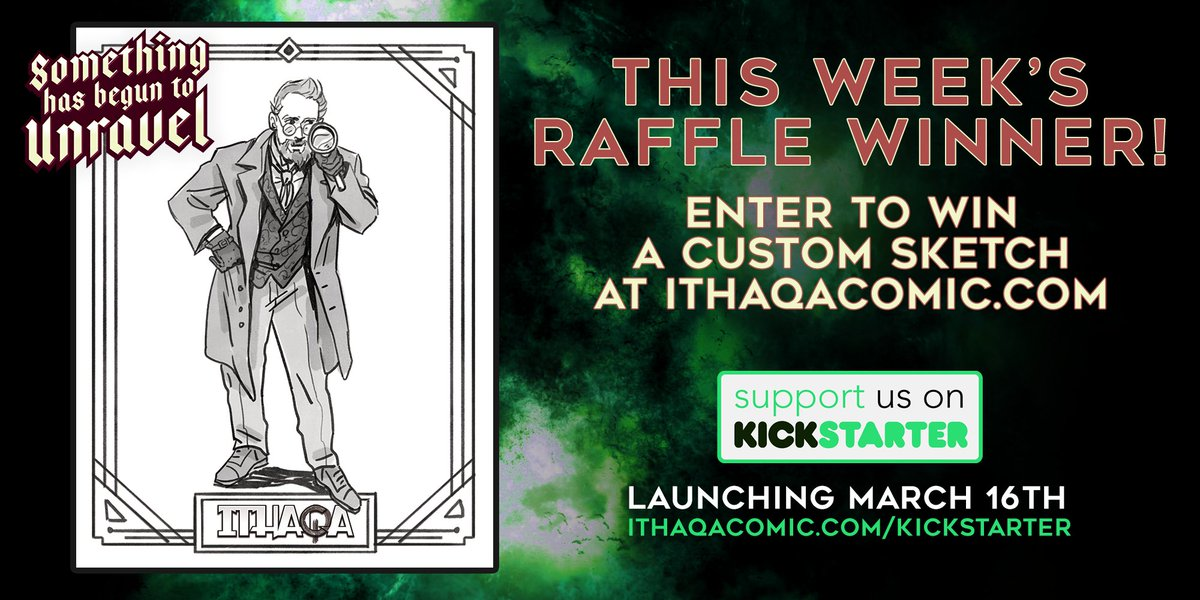 We have our week 2 winner for the #IthaqaRaffle - Congrats, Greg, youre a #dapper investigator! There will be five more winners, so if you want to see your #1920s #persona brought to life, enter our raffle at: ithaqacomic.com/subscribe #CallofCthulhu #Lovecraft #Lovecraftian