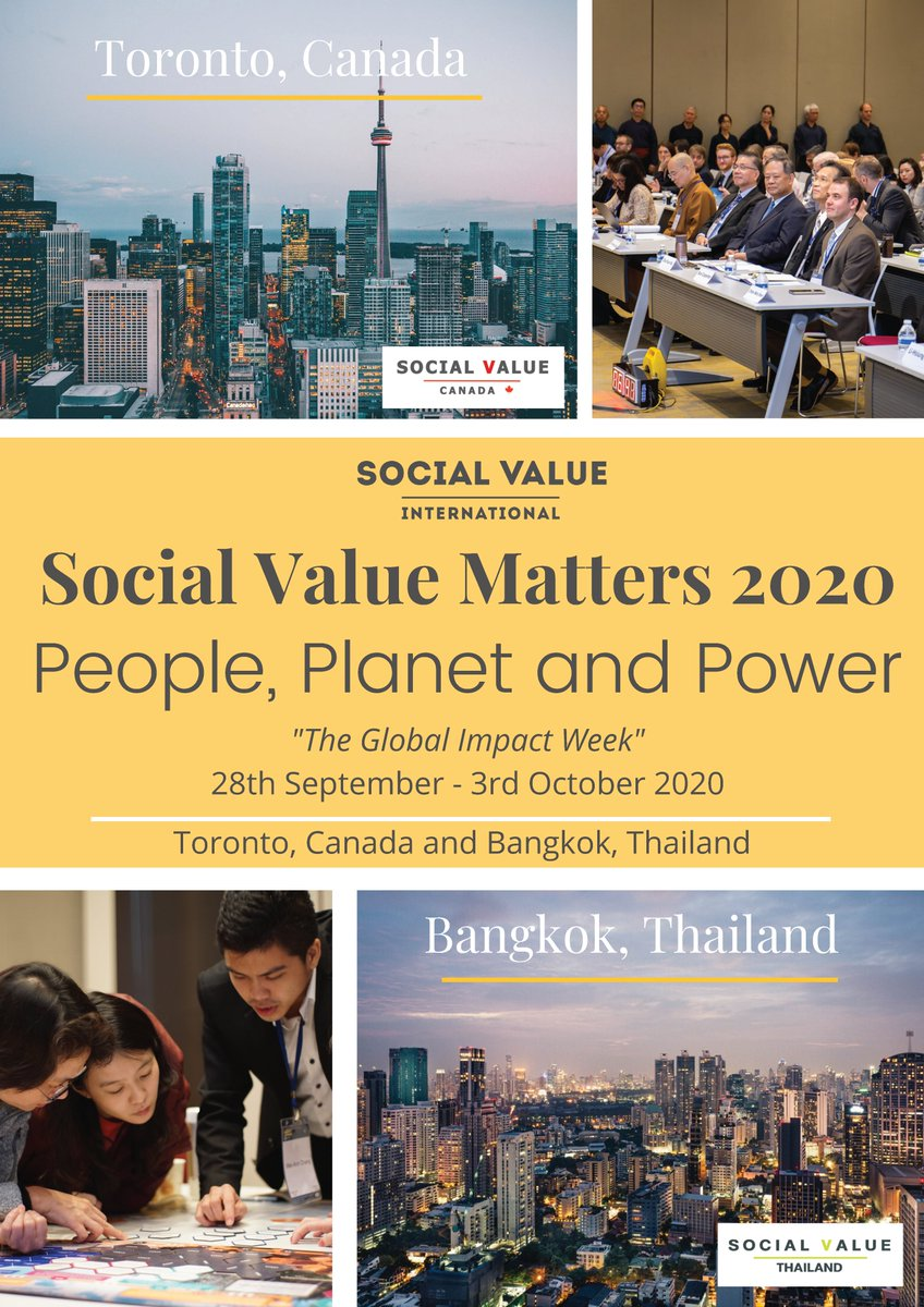 Save the Date! We are thrilled to announce upcoming dialogues that will be hosted throughout Social Value Matters 2020 Global Impact Week, September 28 - October 2. More details to follow! #SocialValueMatters #PeoplePlanetPower @SocialValueInt