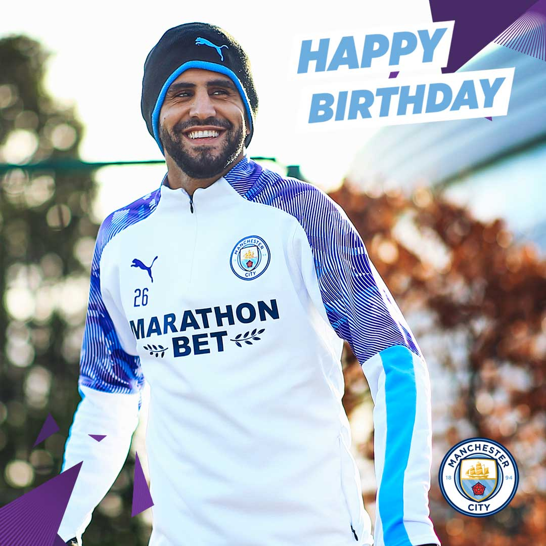 The smile of a birthday boy! 😀  Have a great day, @Mahrez22!  🔵 #ManCity