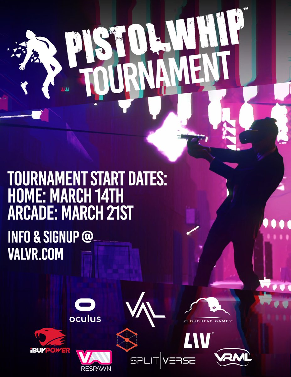 🚨 Tournament Alert 🚨   Are you the world's best @PistolWhipVR player?   Compete for more than $10,000 in prizes and put your skills to the test this March in-home or at a #VR arcade near you! #PistolWhip #VAL