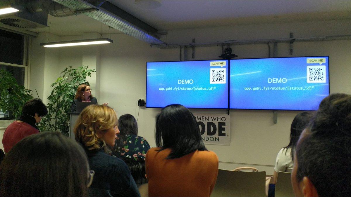 Great interactive talk by @gabidavila. She's given us a link so we can follow along.  @womenwhocode #womenwhocode #womenintech #womeninstem #serverless #mysql @IntercomEngpic.twitter.com/mZaGJ6s52I
