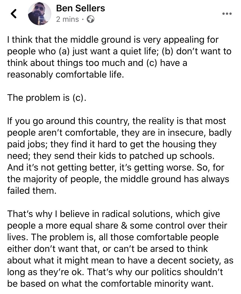 Our politics should not be based on what the comfortable minority want...
