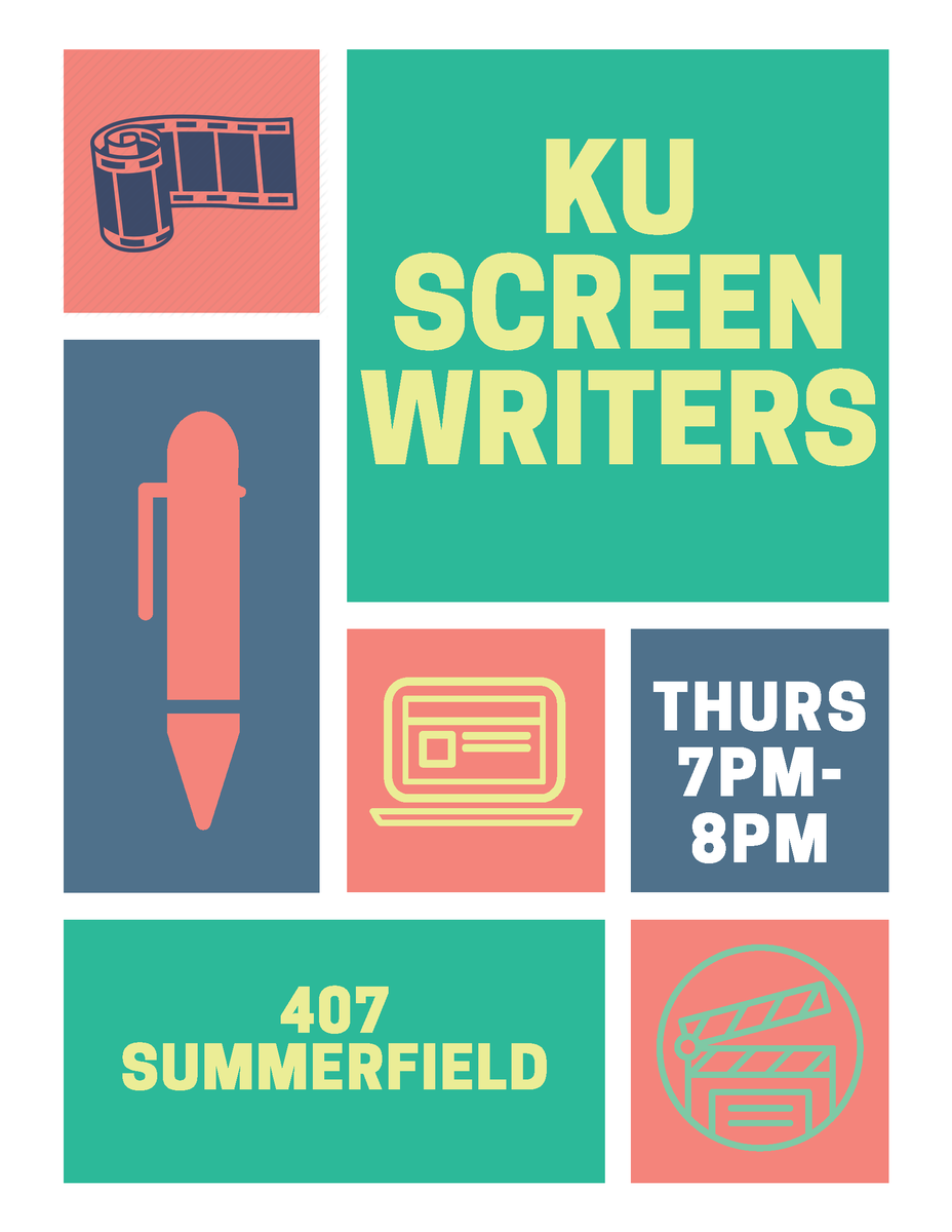 Free tonight? KU Screenwriters meets every Thursday at 7pm. This is a great opportunity to connect with other writers, no matter where you're at in your writing journey! #KUFMS #StudentClubs #WriteOnpic.twitter.com/Apldua68SV