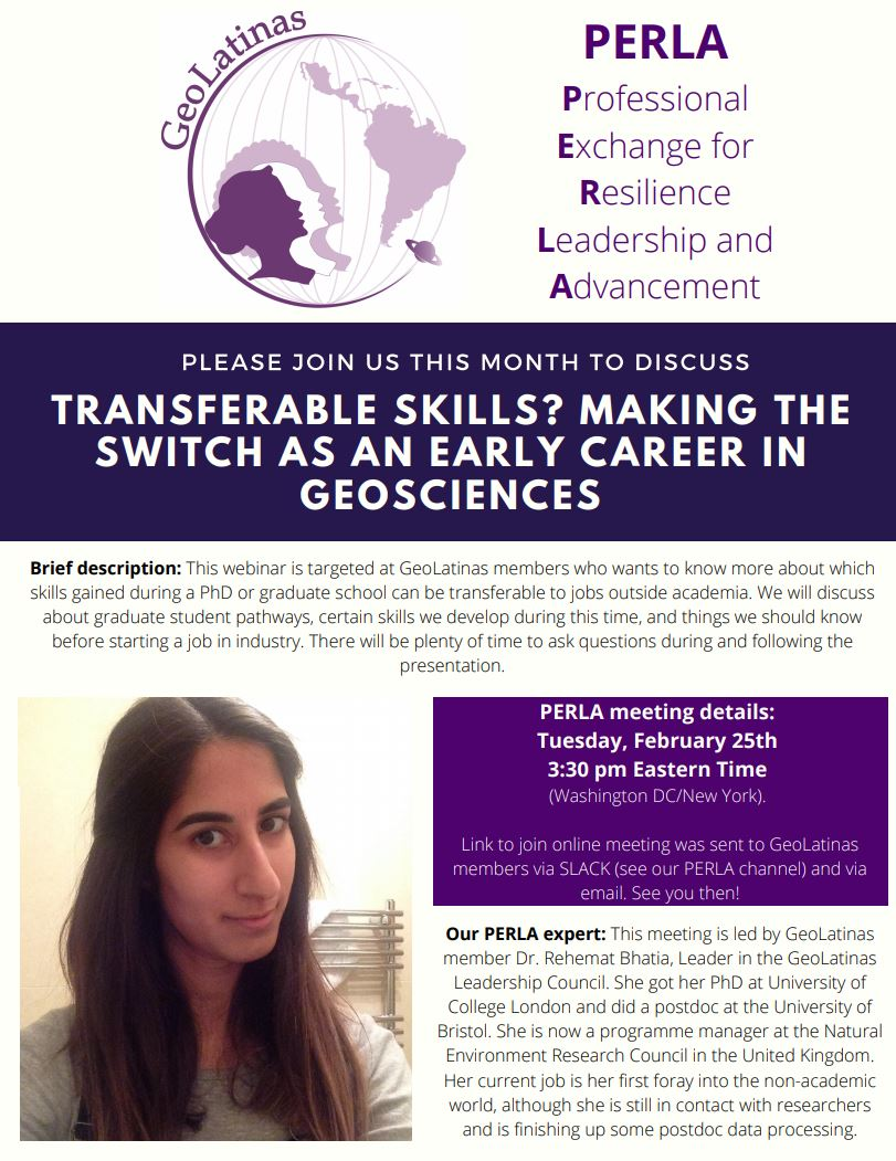 Mark your calendars February's PERLA meeting is approaching!!  #StrongerTogether  #GeoLatinas #WomenInSTEM pic.twitter.com/3ffvXhtmjC