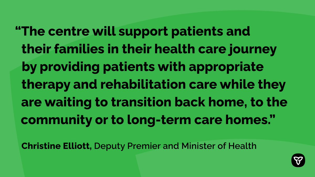 These new beds will help ease hospital capacity pressures for acute care and allow health care providers to support patients in the most appropriate setting suited for their needs. http://news.ontario.ca/m/55852