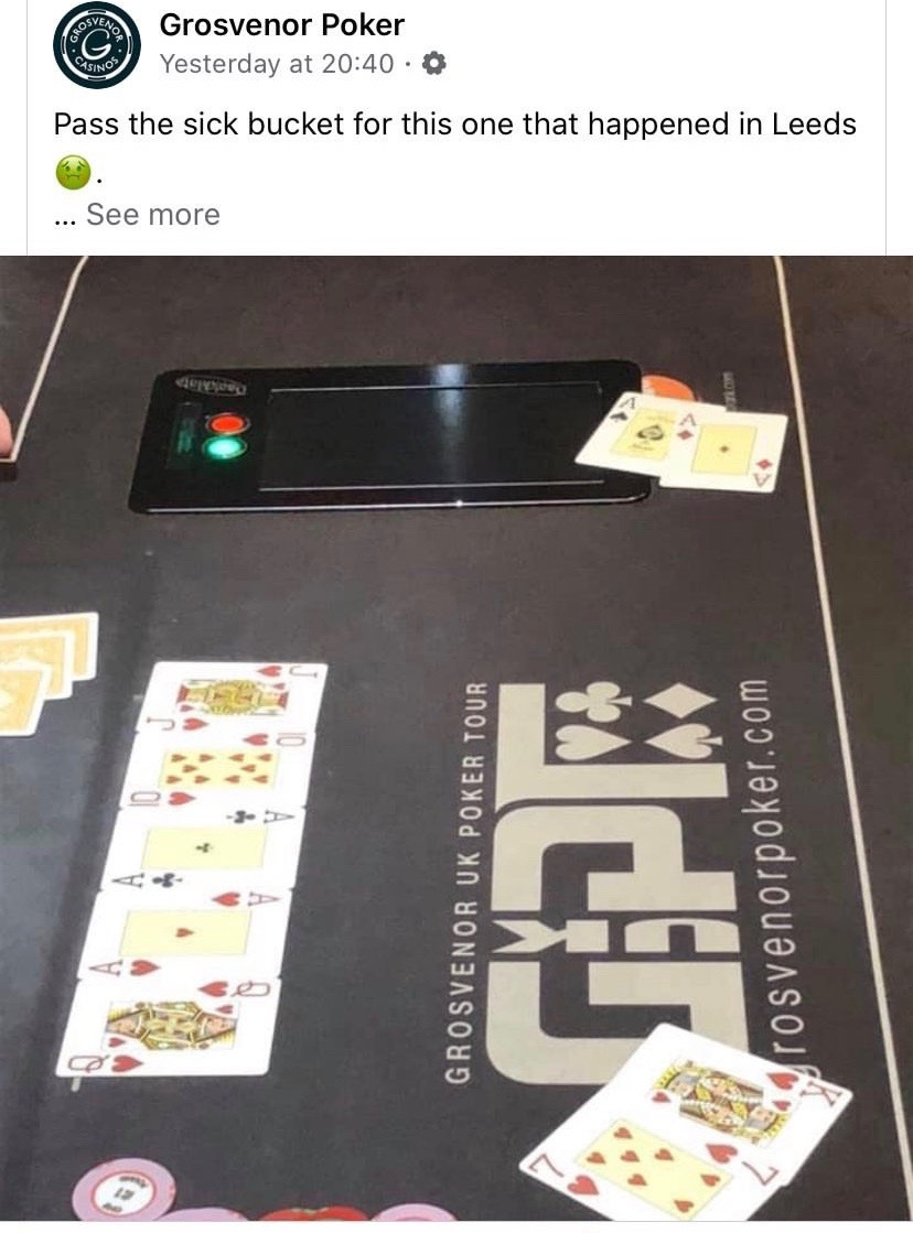 Pass the bloody sick bucket, innit. No bad beat jackpot on this one mate. Fookin gutted. (via @GrosvenorPoker)