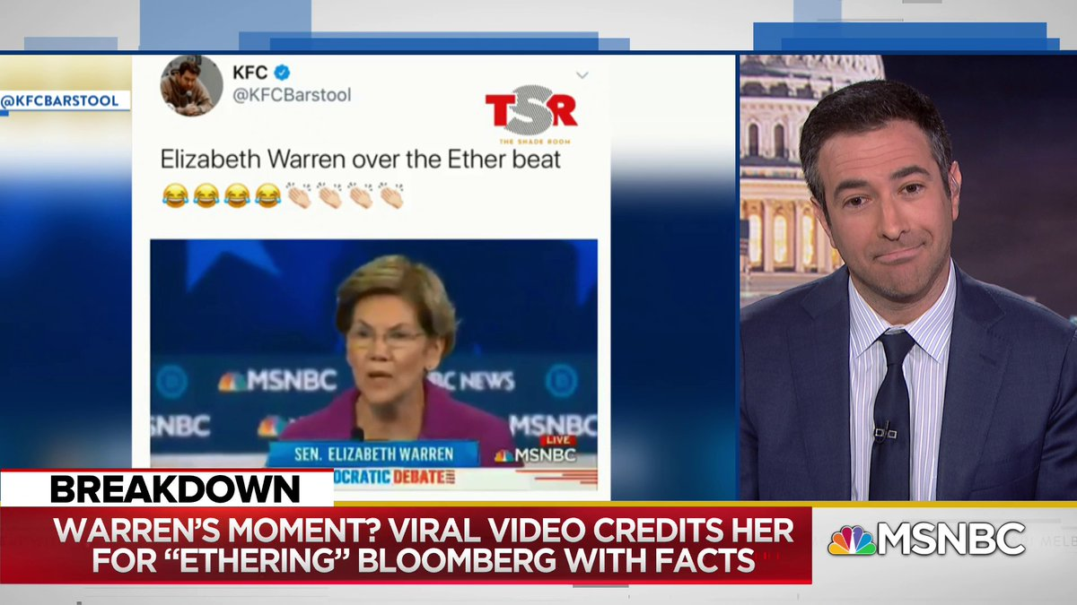 A lot of people are liking the idea that shes basically put out a diss track on Mike Bloomberg: @AriMelber highlights the viral video remaking Warrens attack on Bloomberg over the instrumental to a famous diss record.