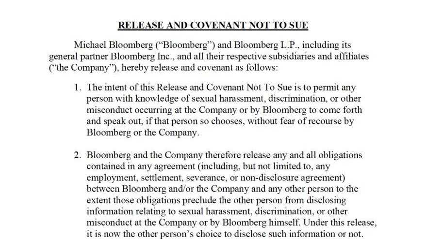 Mike Bloomberg can easily release the women who have accused him of sexual harassment—and who voluntarily want to speak about their experiences—from their non-disclosure agreements. Take a look at how simple and straightforward it would be: