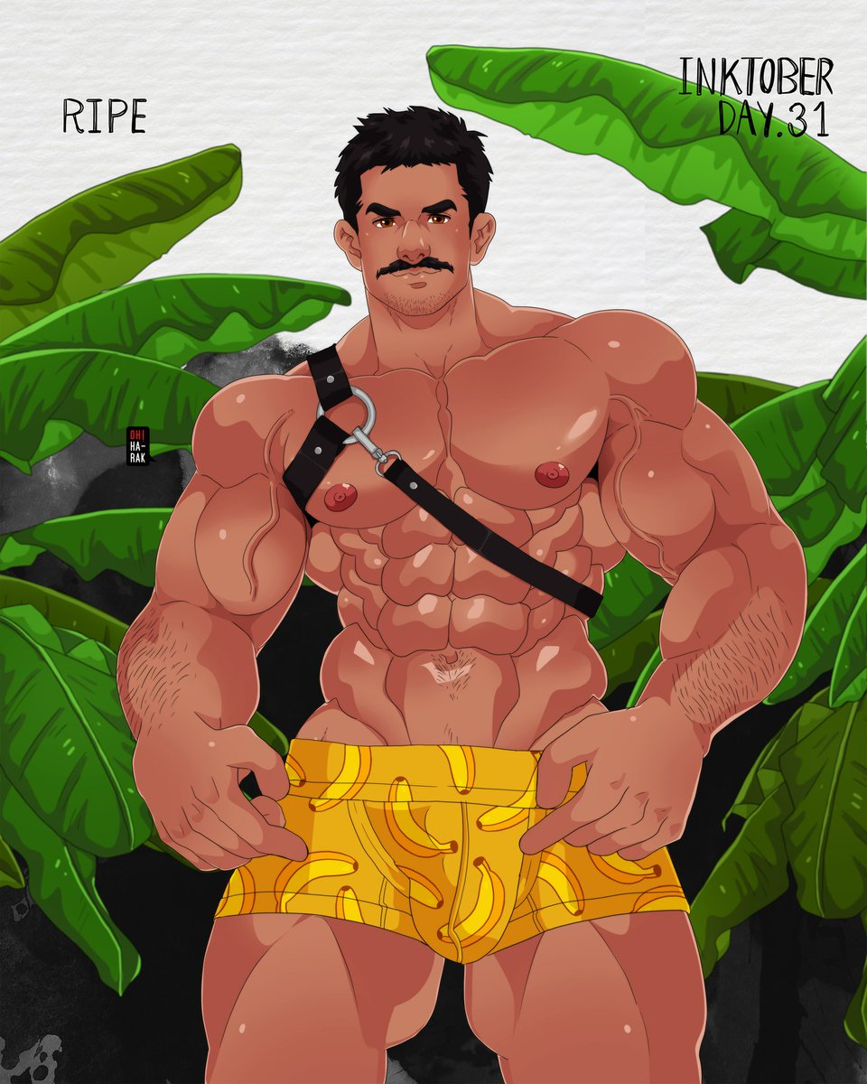 """RIPE"" Day. 31/#Inktober2019  (Final artwork of Inktober 2019) #musclehunk #beard #inktober #hunk #mustache #gayartpic.twitter.com/jJXjfhvshc"