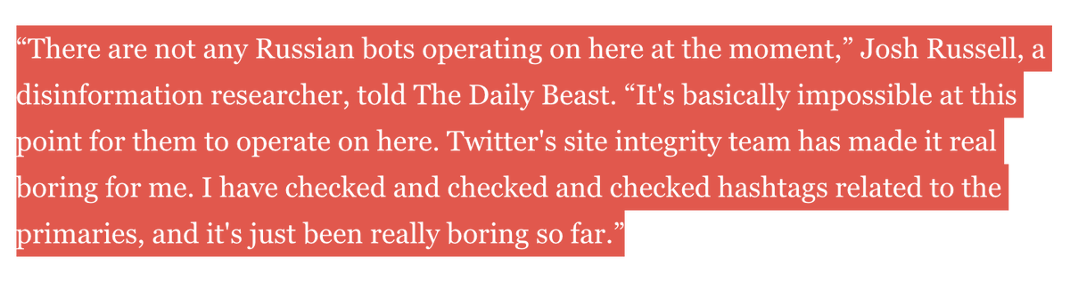 It takes a lot of work by a lot of teams across Twitter to make things boring for @josh_emerson. We're staying focused on protecting the 2020 elections and other critical events around the world. https://www.thedailybeast.com/bernie-some-of-my-angriest-online-bros-may-be-russian-bots…