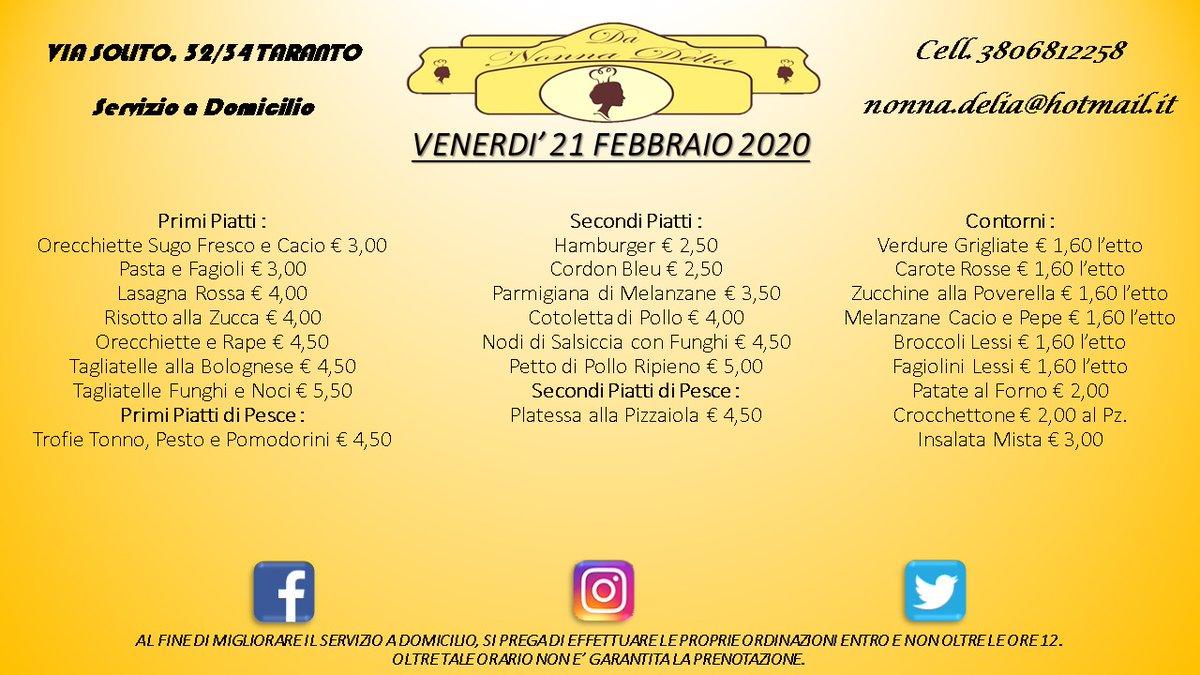 """Menù Venerdì 21 Febbraio 2020 - Gastronomia """"Da Nonna Delia"""" @da_nonna_delia #danonnadelia #food #foodlovers #seafood #seafoodlovers #pranzo #lunch #gastronomia #ristorante #primipiatti #secondipiatti #contorni #taranto #puglia #tagsforlike #tagsforfollow #follow #like4likespic.twitter.com/8JCDe16Qkm"""