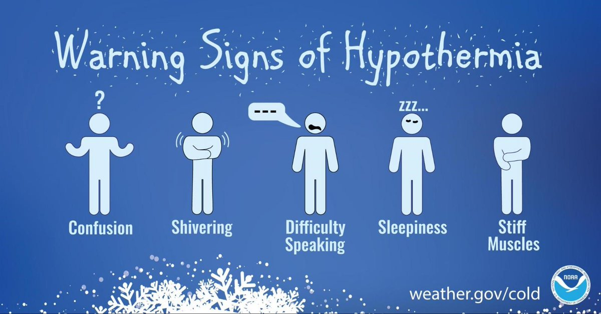 Do you know the warning signs of #hypothermia? If you see someone showing any of the signs below (confusion, shivering, difficulty speaking, sleepiness or stiff muscles) get them to a warm place right away! Learn more at .  #ResolveToBeReady #COSprepared