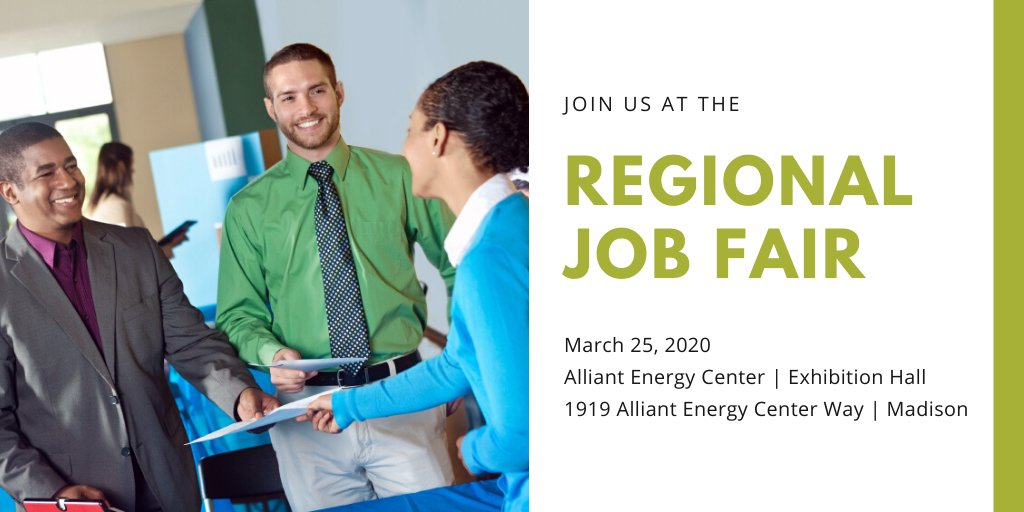 Join us at the Regional Job Fair on March 25 from 11am to 3pm! Click on the link for more info and a list of attending employers. https://www.scwijobs.com/dane-events/2020/3/25/dane-county-regional-job-fair-alliant-energy-center…pic.twitter.com/6dd9894Axh