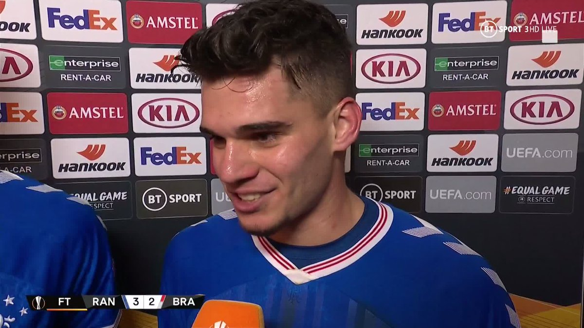 """""""It's amazing! Ibrox, baby! It's just different!"""" 😆Dreams come true insists Ianis Hagi after he scored twice in Rangers' thrilling comeback victory over Braga.An incredible European debut for the 21-year-old! 👏"""