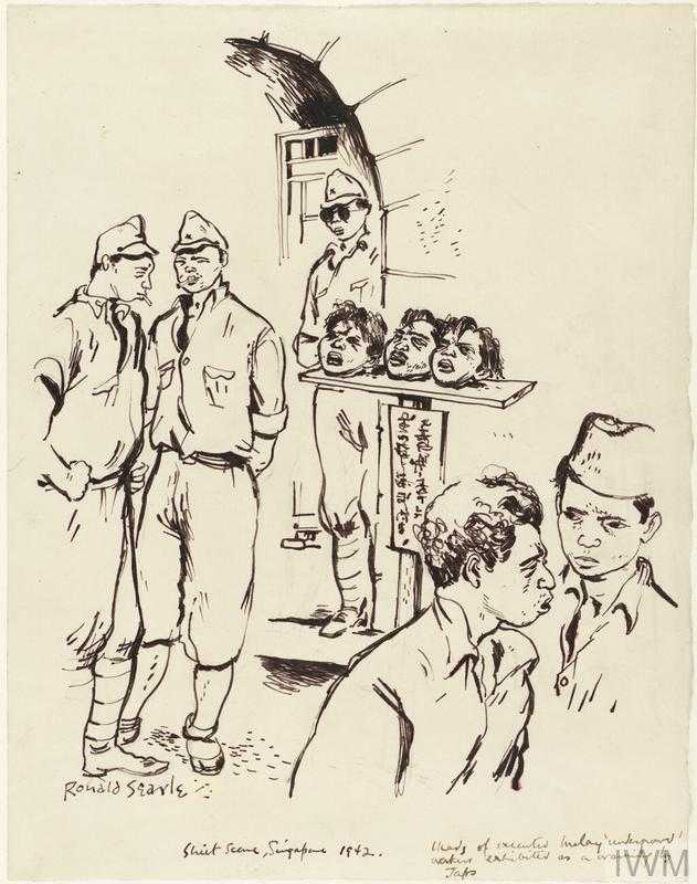"""Alastair Urquhart, British prisoner of war, is marched past """"a thicket of severed Chinese heads, speared on poles on both sides of the road"""". War artist Ronald Searle captures the scene:"""