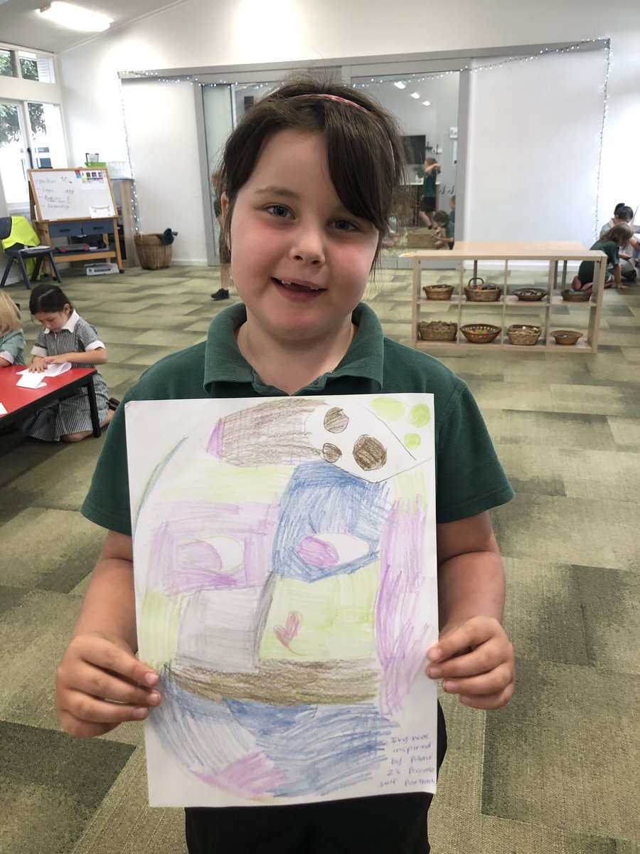 Ivy was inspired by the Picasso self portraits that @2Pitau shared in assembly today. She chose to create her own during our tinker time this morning. Ka Pai Ivy!pic.twitter.com/9NBFpV6m9D
