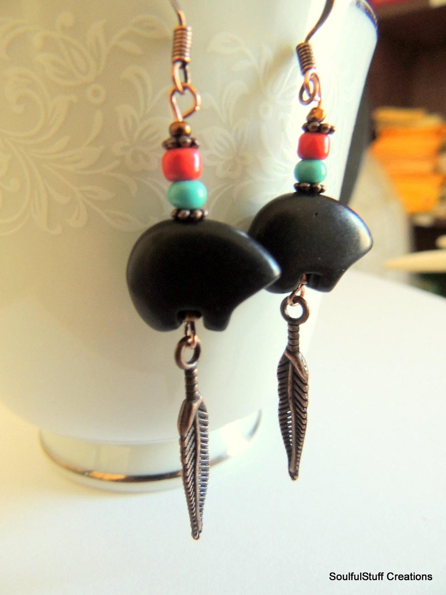 Excited to share the latest addition to my #etsy shop: Black Stone Bear Copper Earrings, Native Boho Style #mamabear #bohostyle #Bears #soulfulstuffonetsy #rusticjewelry #handmade #giftideas #copper  https://etsy.me/2uf0Fqrpic.twitter.com/lS6kmkxY5B