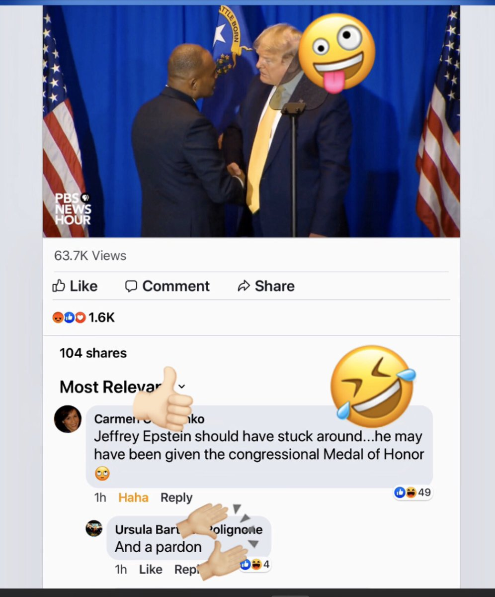 @HoodlumRIP Who agrees with this @NewsHour #Facebook post?  If #Epsteindidntkillhimself 🤫and was still alive 🤷♀️#Trump would likely  have pardoned Epstein and gave a Congressional Medal of Honor too.  #PardonTheSwamp #BarrCorruption #BarrCoverUp
