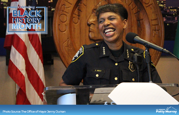 After serving Seattle for 26 years, @carmenbest became the city's first Black police chief in 2018. Born and raised in Tacoma, Carmen rose through the ranks of the @SeattlePD and has dedicated her career to protecting communities in WAs largest city. #BlackHistoryMonth