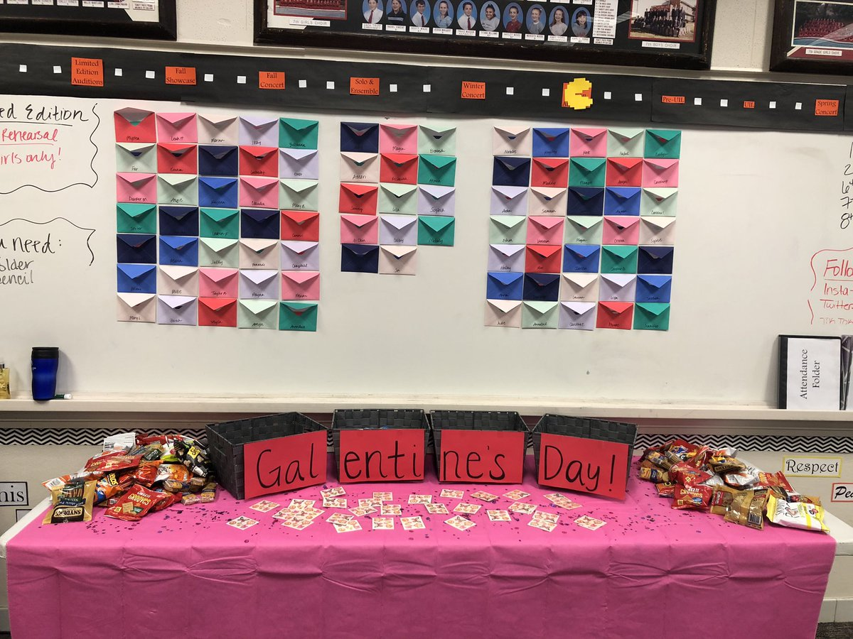 Galentine's Day is here! Snacks, friends, and an envelope for every girl with handwritten messages of kindness from their choir classmates 💜🎶😍#teamlhjh #teamchoir #galentinesday #risdsaysomething