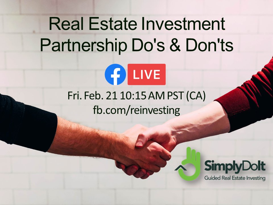 Real Estate Investment Partnership Do's & Don'ts Tomorrow Fri. Feb. 21 10:15 AM PST LIVE FB http://fb.com/reinvesting  #simplydoit #investors #realestate #investments #realestateinvestment #realestateinvesting #housingmarketpic.twitter.com/QXyQOV3gqG