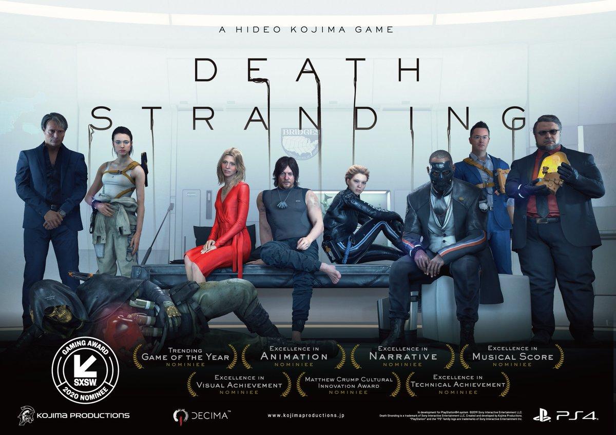 いつも応援ありがとうございます! #DeathStranding が 2020 @sxsw Gaming Awardsで7つの部門でノミネートされました! 皆様も投票できる一般投票はこちらから!(現地時間2月23日まで) sxsw.com/awards/gaming-… #TomorrowIsInYourHands