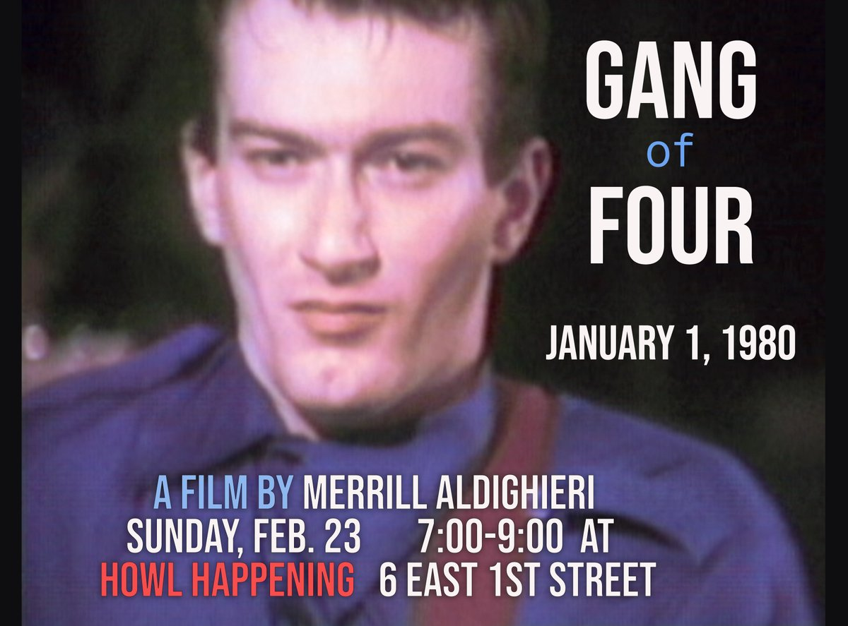 """Join us Sunday at 7 PM for """"Gang of Four"""" by Merrill Aldighieri, a never before seen rough cut of their full concert, live at Hurrah on January 1, 1980: with an encore with British-American rock band, The Mekons.   #gangoffour #themekons #80s #concert #video #merrillaldighieripic.twitter.com/tOgZaT0Nhg"""