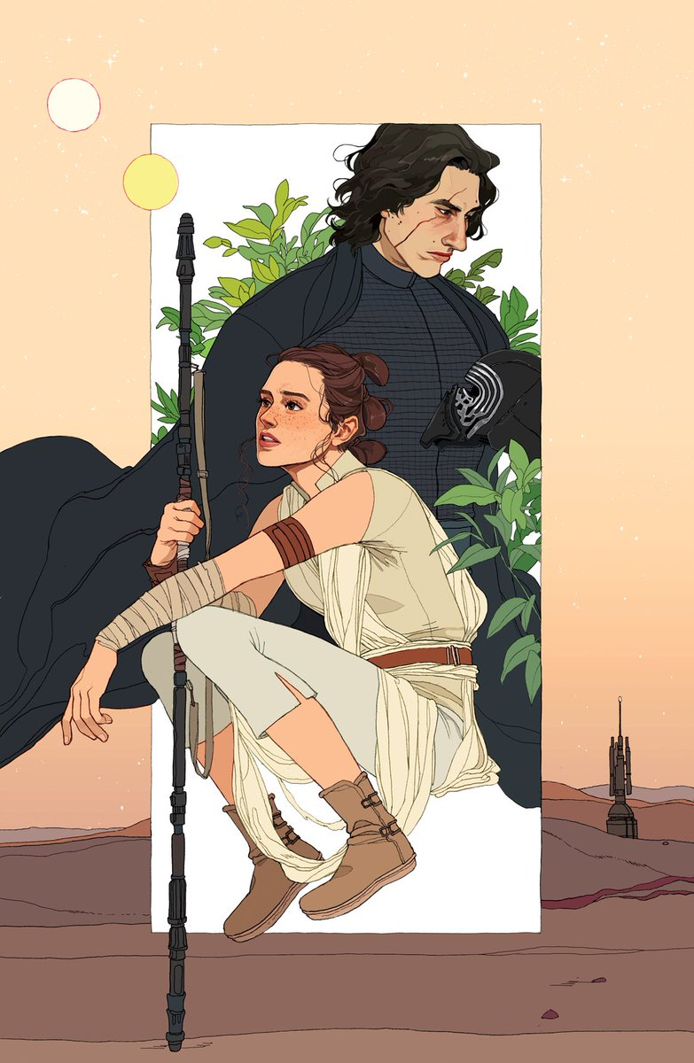 my finished star wars print that i forgot to post! i wish i'd done something more complex with the layout, but i'm still REALLY happy with how kylo and rey's faces turned out✨