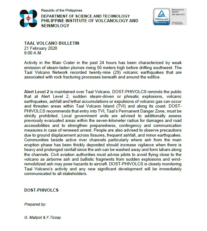 TAAL VOLCANO BULLETIN 21 February 2020 8:00 A.M. #TaalVolcano phivolcs.dost.gov.ph/index.php/taal…