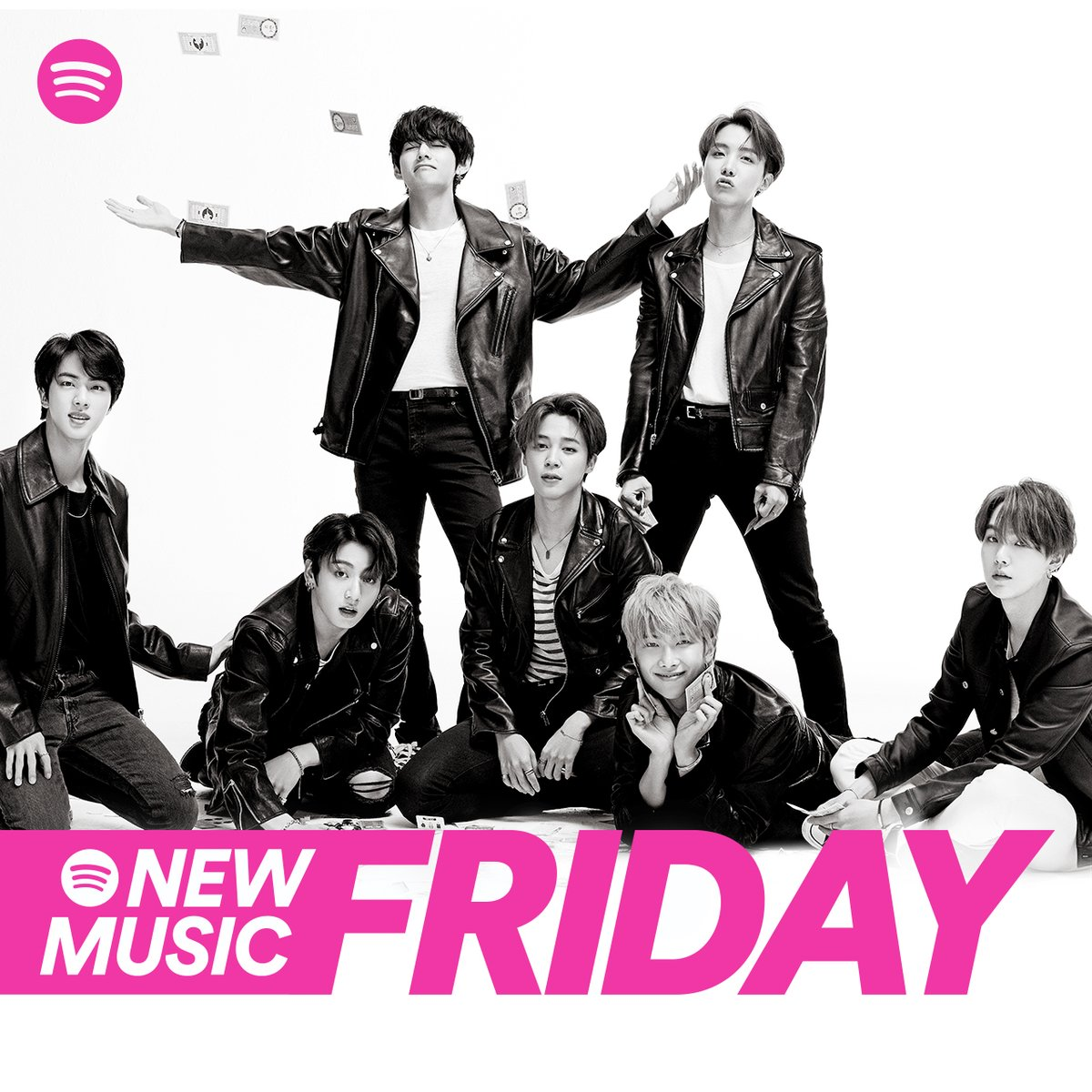 Say hello to the new look #NewMusicFriday 👋 Then say 안녕 to our first cover stars @BTS_twt 💜 #SpotifyxBTS