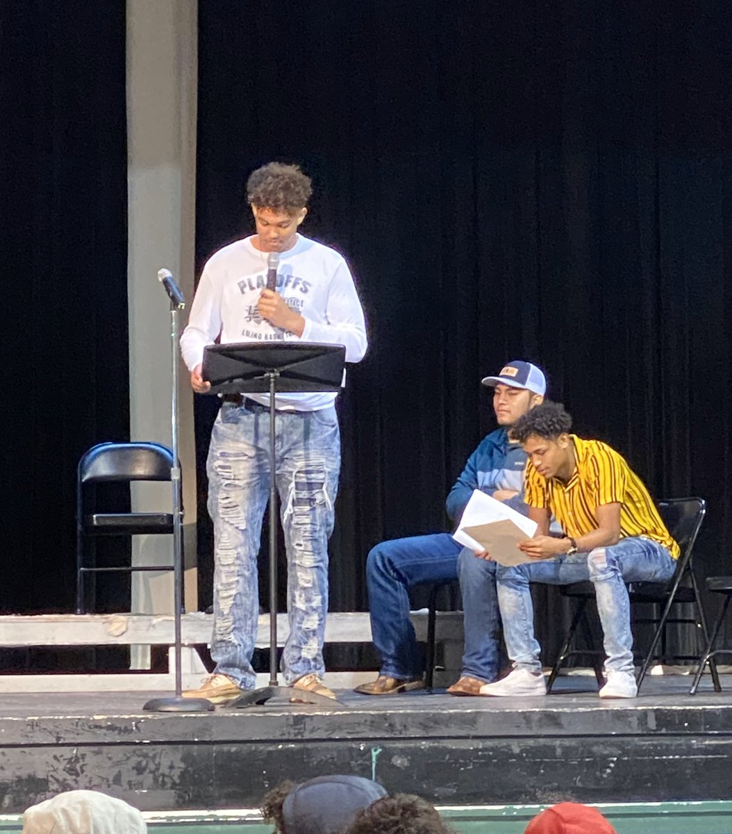 """Trent Scott and Jeremiah Solis read """"How Long, Not Long"""" and """"I Have a Dream"""" by Dr. Martin Luther King. We are honored students. Thank you for reminding us of his message."""