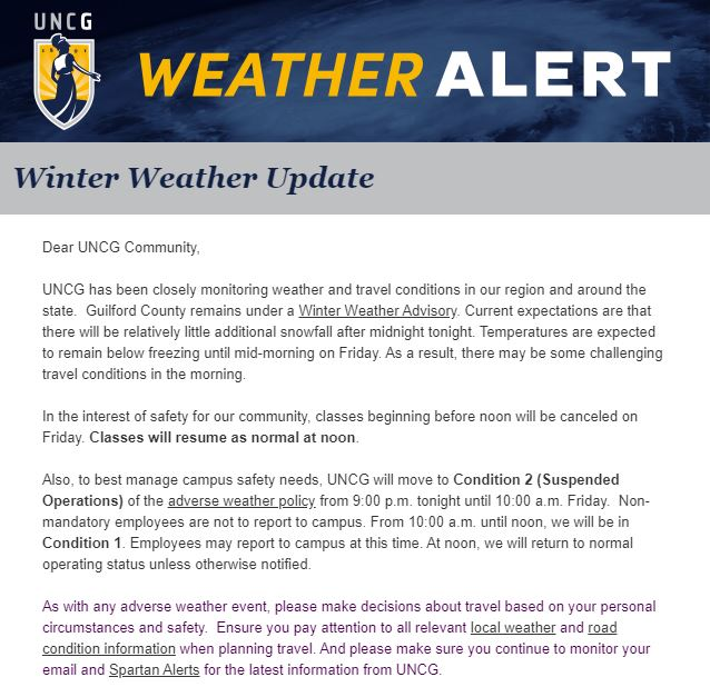 Uncg On Twitter Weather Update We Will Resume Normal Operations