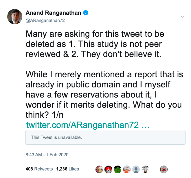 3/n In fact, soon after I posted my tweet I also posted these tweets that @twitter IGNORES. Aware that even though I'd tweeted a preprint from a reputed science site, I wanted a second opinion on whether in a fast-moving field, one should post preprints. How is that wrong?
