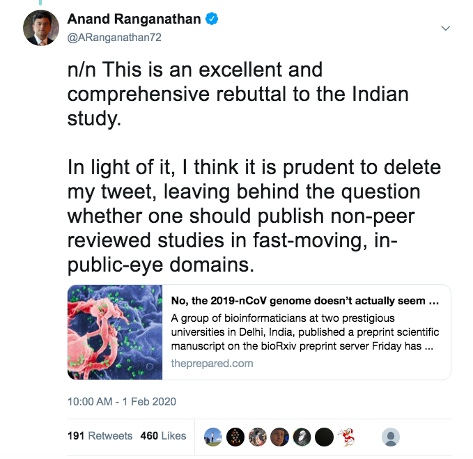 4/n In the end, even though many scientists told me not to, I deleted my tweet, giving reasons, and after having read a very good rebuttal to the preprint, that I also tweeted.Do you have ANY IDEA, @twitter, that this is how science works? You get a big fat 'F' here.