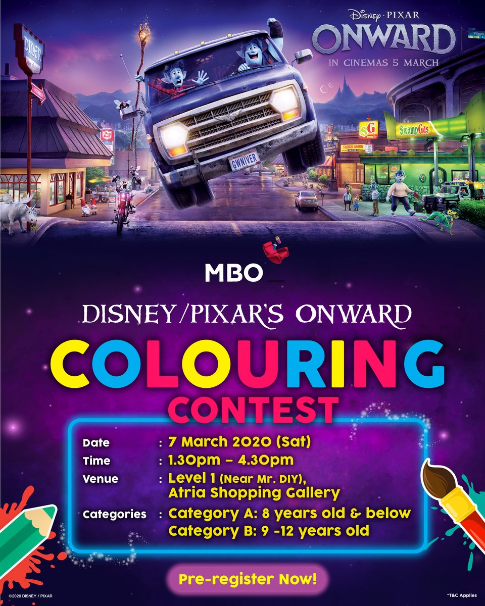 Mbo Cinemas On Twitter Tons Of Amazing Prizes Await You In Disney Pixar S Onwardmy Colouring Contest 7 March 2020 1 30pm 4 30pm Atria Shopping Gallery Hurry Up And