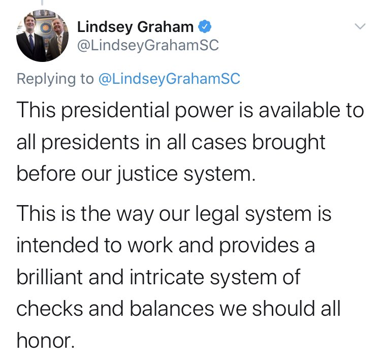 Lindsey Graham of all people is going to talk about checks and balances as a thing we should honor? NONE of these people honor our country or the Constitution They help trump dishonor it all Does he ever secretly get tired of kissing trumps ring?