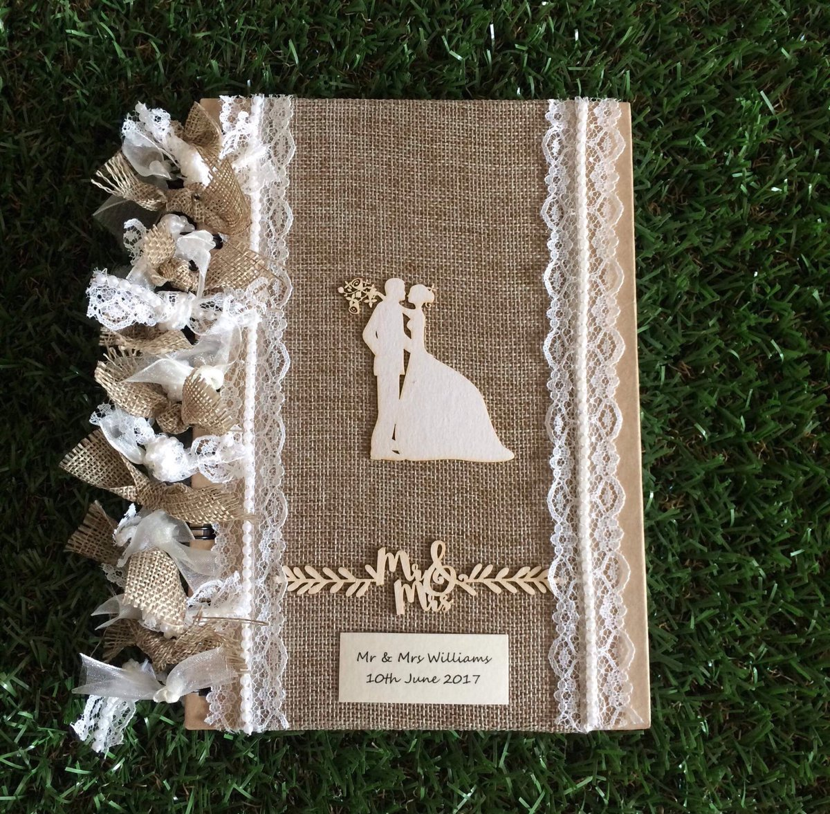 Excited to share this item from my #etsy shop: HANDCRAFTED rustic wedding planner book journal keepsake, notebook, burlap, lace & pearl decoration.  #planner #notebook #rustic #weddingideas  #weddingseason #weddingplans #weddinginspo  #mrandmrs #bridetobe