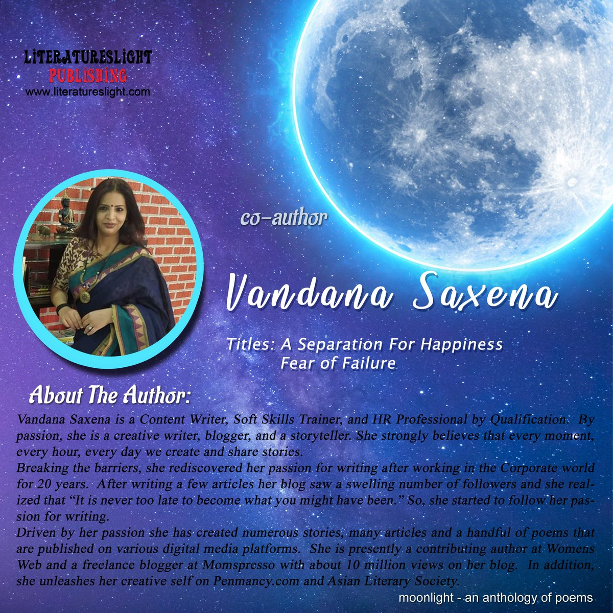 #literatureslight #poetryanthology #moonlight #Submissionsclosed  Thank you for the contribution #VandanaSaxena #poetry #booklovers #authorbranding #writeindia #newindianauthors #indianauthors #poetsofindia pic.twitter.com/SDLbs4AwQ3