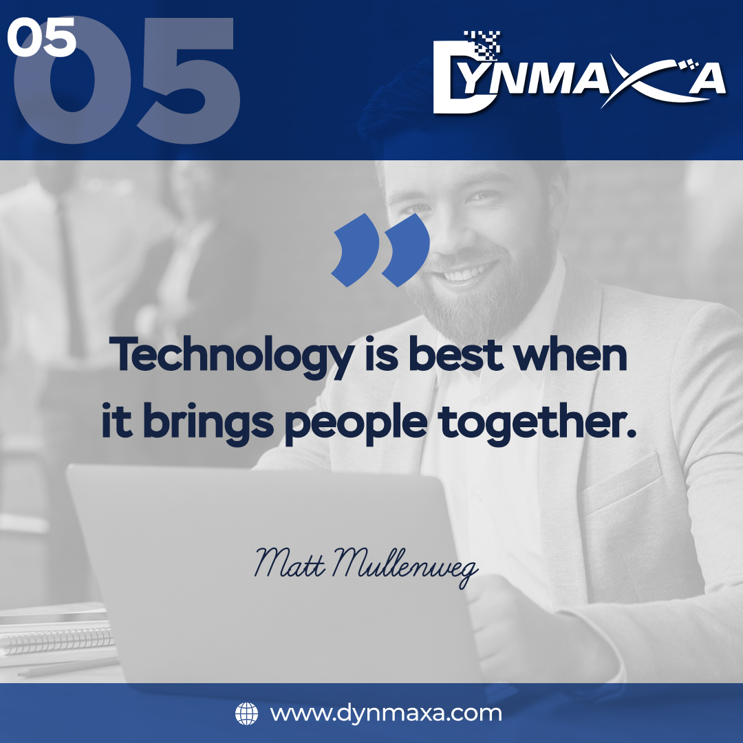 Technology is best when it brings people together. Technology is driving the modern-day world and there is no doubt or any other ways about it.  . Learn more: http://www.dynmaxa.com . #DynmaxaTechnology #itsolutions #techcompany pic.twitter.com/ZG2q8PDsLJ