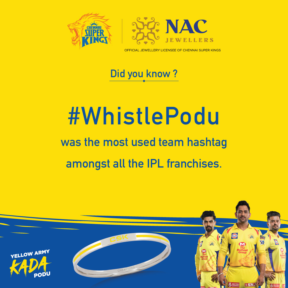 Did you know??!!! 🤔NAC JEWELLERS OFFICIAL JEWELLERY LICENSEE OF CSKFor more info - Visit http://www.nacjewellers.com Or your nearest NAC showroom.ShopNow @ https://www.stylori.com/jewellery/kada/csk_kada?sku_id=1000000…#ChennaiSuperKings #NACJewellers #whistlepodu #CSK #yellovearmy #yellowarmykadapodu @ChennaiIPL